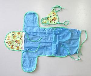 Фланелевый конверт с полупрозрачными для синего света окнами со стороны спины и груди ребенка.